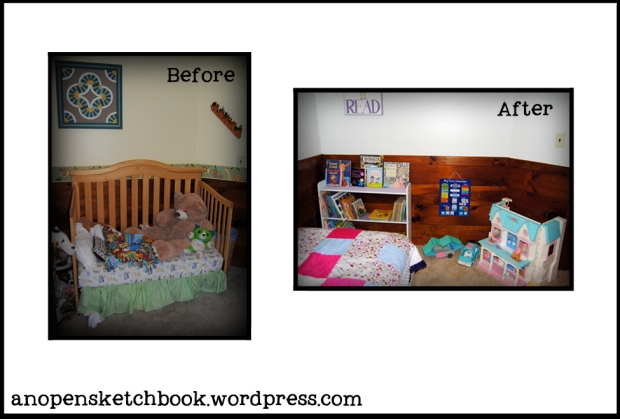 Bookshelf corner before and after